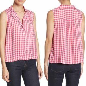 Abound Hot Pink Gingham Sleeveless Top